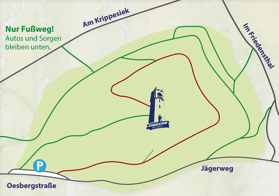 Bismarckturm Bad Pyrmont - Wegekarte